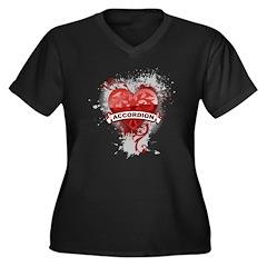 Heart Accordion Women's Plus Size V-Neck Dark T-Sh