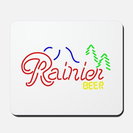 Rainier Beer neon sign 2 Mousepad