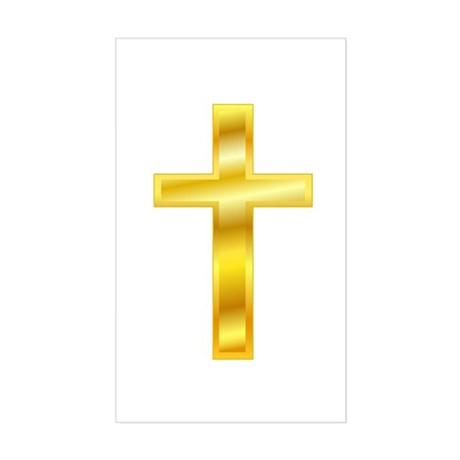 Golden Cross Rectangle Sticker
