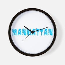 Manhattan Faded (Blue) Wall Clock