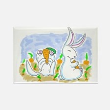 White Rabbit Carrots Rectangle Magnet