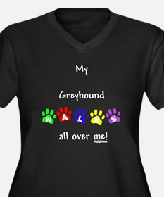Greyhound Walks Women's Plus Size V-Neck Dark T-Sh