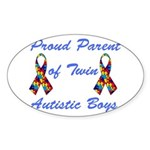 Autistic Twins Oval Sticker (10 pk)