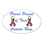 Autistic Twins Oval Sticker