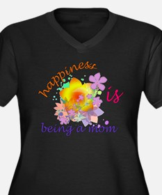 Happiness is Being a Mom Women's Plus Size V-Neck