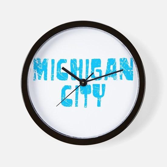 Michigan City Faded (Blue) Wall Clock