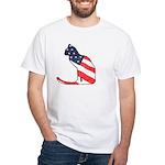 Patriotic Cat White T-Shirt
