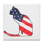 Patriotic Cat Tile Coaster