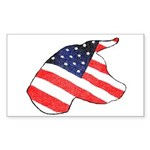Patriotic Dog Rectangle Sticker