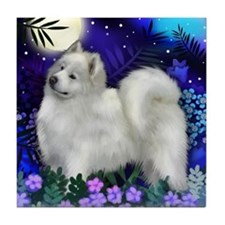 SAMOYED DOG MOON GARDEN Tile Coaster