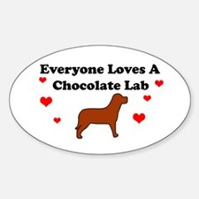 Everyone Loves Chocolate Lab Oval Decal