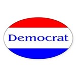Red, White and Blue Democrat Oval Sticker