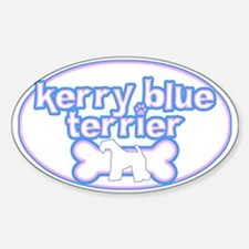 Powderpuff Kerry Blue Terrier Oval Decal