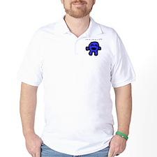 little blue golf shirt