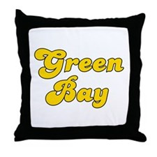 Retro Green Bay (Gold) Throw Pillow