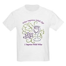 I Improve With Wine Kids Light T-Shirt