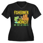 Born Honest Women's Plus Size V-Neck Dark T-Shirt