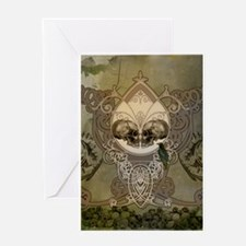 Awesome skulls with crow, floral elements Greeting