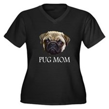 Pug Mom Dark TShirt Women's Plus Size V-Neck Dark