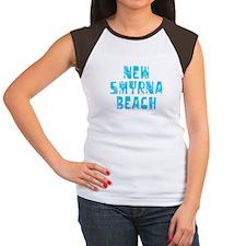 New Smyrna B.. Faded (Blue) Women's Cap Sleeve T-S
