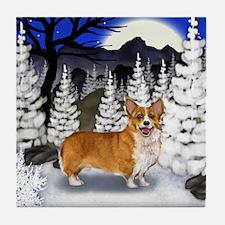 WELSH CORGI DOG WINTER MOON Tile Coaster