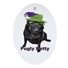 Pugly Betty Oval Ornament