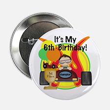 Racing Car 6th Birthday Button