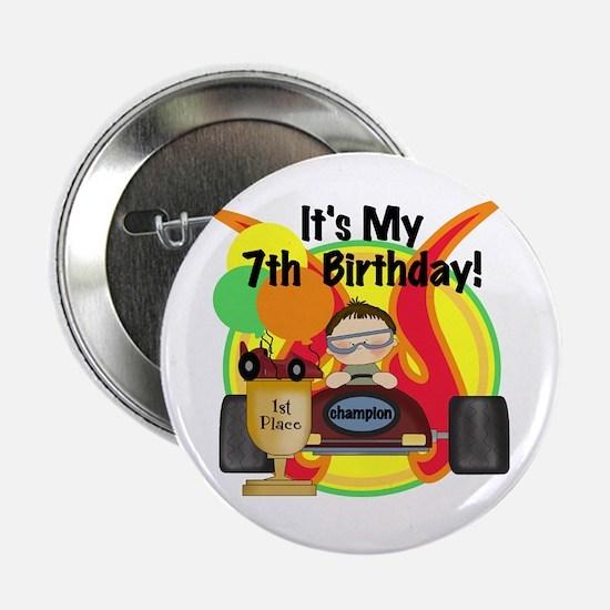 Racing Car 7th Birthday Button