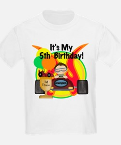 Racecar 5th Birthday Kids T-Shirt