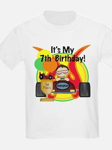 Racing Car 7th Birthday Kids T-Shirt