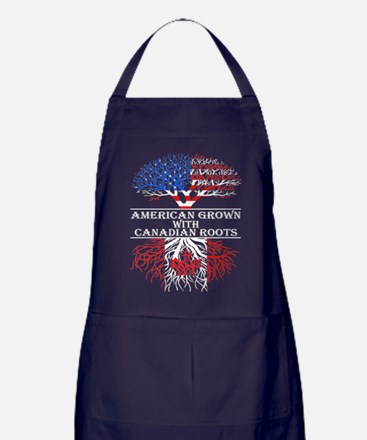 American Grown With Canadian Roots Apron (dark)