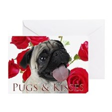 Pugs and Kisses Greeting Card