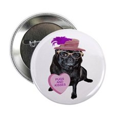 """Pugs and Kisses 2.25"""" Button"""