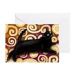 Black Cat Oriental Rug Greeting Card