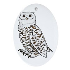 Snowy Owl Oval Ornament
