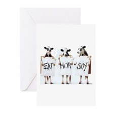 The cows beg you to Eat More Soy! Greeting Cards (