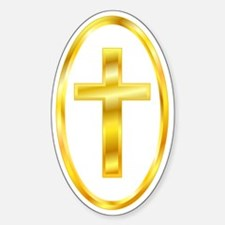 Golden Cross Oval Oval Decal