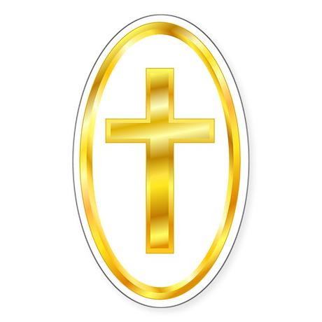 Golden Cross Oval Oval Sticker