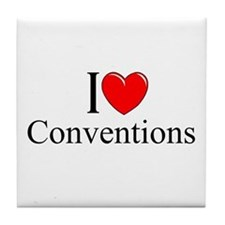 """""""I Love (Heart) Conventions"""" Tile Coaster"""