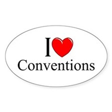 """I Love (Heart) Conventions"" Oval Stickers"