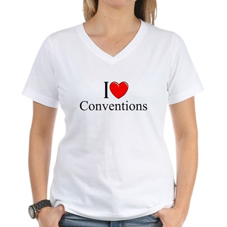 """I Love (Heart) Conventions"" Women's V-Neck T-Shir"