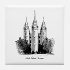LDS Temple Illustration  Tile Coaster
