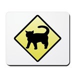 CAUTION! Cat Crossing Mousepad