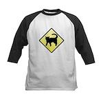 CAUTION! Cat Crossing Kids Baseball Jersey