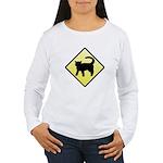 CAUTION! Cat Crossing Women's Long Sleeve T-Shirt