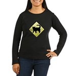 CAUTION! Cat Crossing Women's Long Sleeve Dark T-S