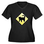 CAUTION! Cat Crossing Women's Plus Size V-Neck Dar