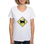 CAUTION! Cat Crossing Women's V-Neck T-Shirt