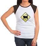 CAUTION! Cat Crossing Women's Cap Sleeve T-Shirt