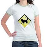 CAUTION! Cat Crossing Jr. Ringer T-Shirt